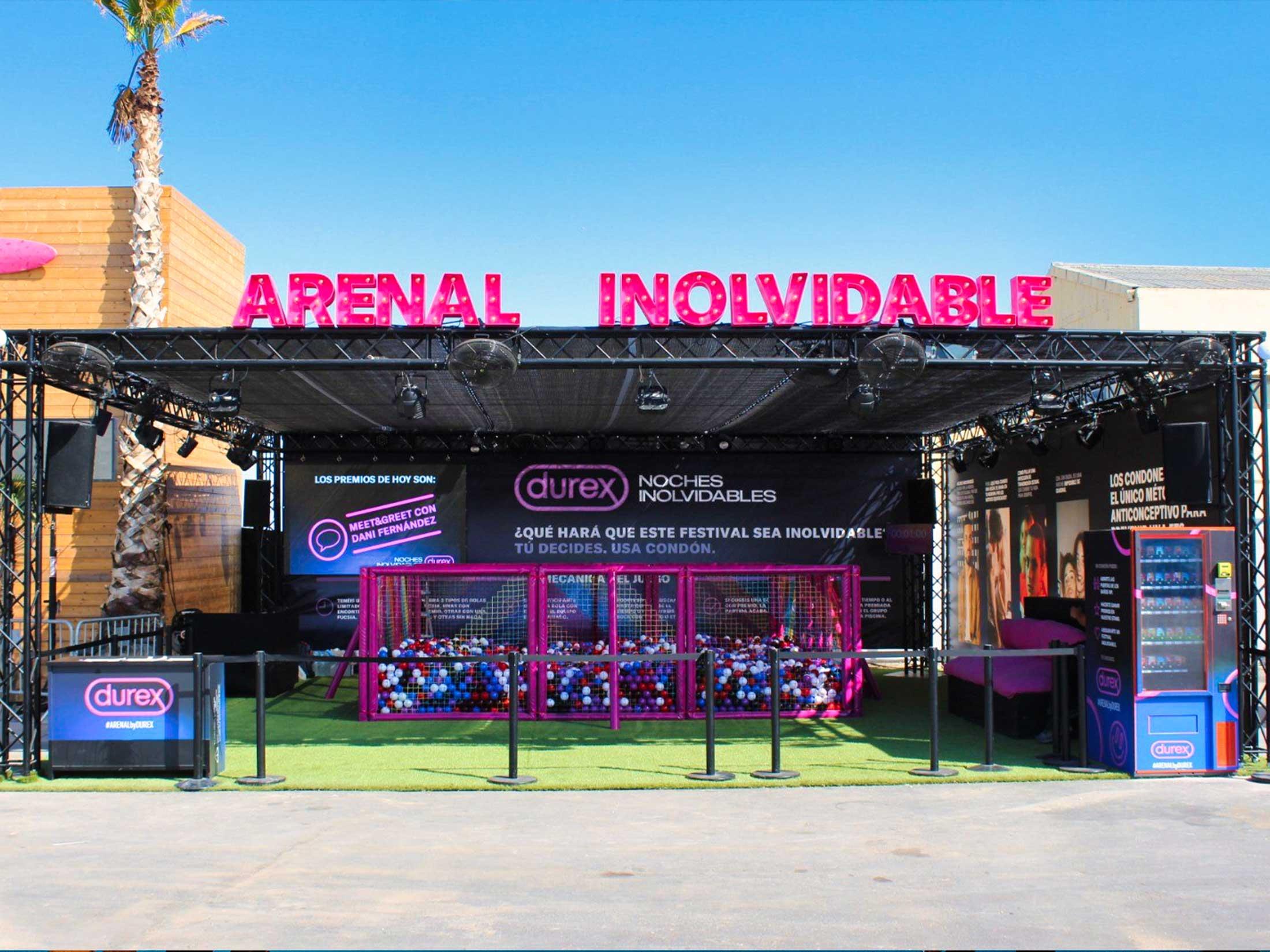 Stand promo Durex en Arenal Sound